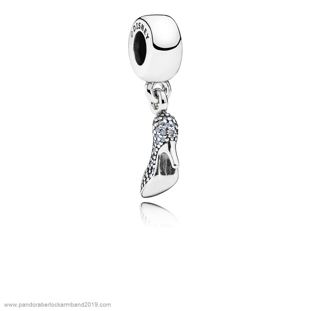 Smycken Shop Online Cinderella Gnistrande Slipper Dangle Charm, Fancy Ljusblå Cz
